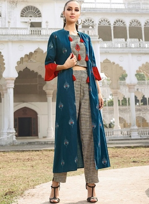Dark Teal Rayon Kurtas And Kurtis