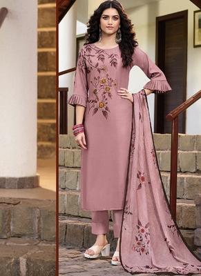 Dark Pink Silk Blend Ethnic Kurtis