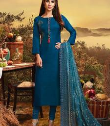 Teal Satin Ethnic Kurtis