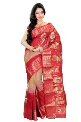 Exclusive designer beige and red tussar saree