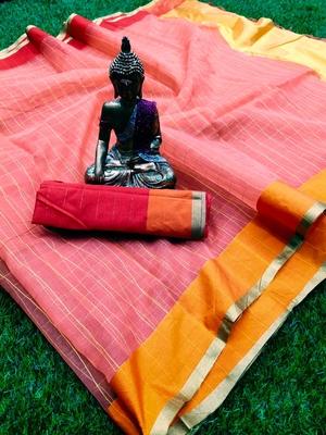 Peach woven organza saree with blouse