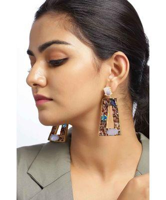 Aquatic Tourmaline Oblong  earrings