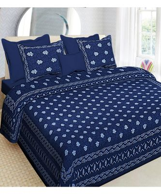 indigo dabu print cotton  double king size bed sheet with chain pillow cover