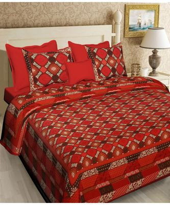 multicolour  printed cotton  double king size bed sheet with  pillow cover