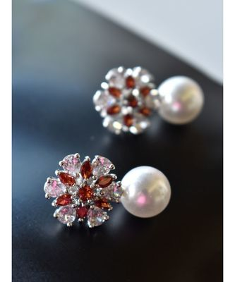 Floral CZ Earring With Pearl Drop