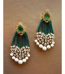 Gorgeous Green Tassel Earring With Kundan