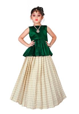 Kids Cotton Silk Green Top And White Lehenga Choli Set