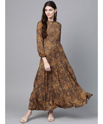 Brown Paisley Tiered Maxi