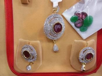 american diamond pendant set