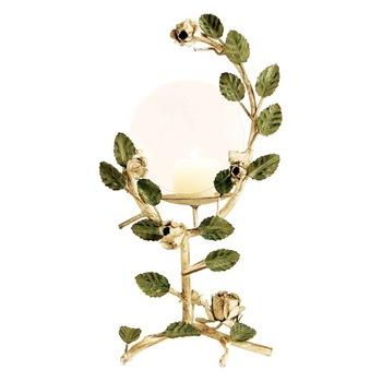 Rose & leaf candle holder