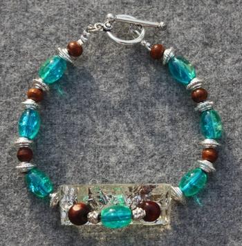 Teal and wooden Bracelet.