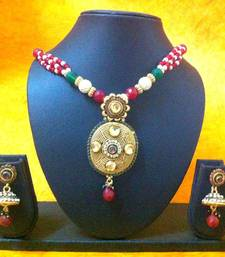 Buy Kundan Work Necklace Set with  Interesting Work on the Pendant & Lovely Earrings by ADIVA ha055 Necklace online