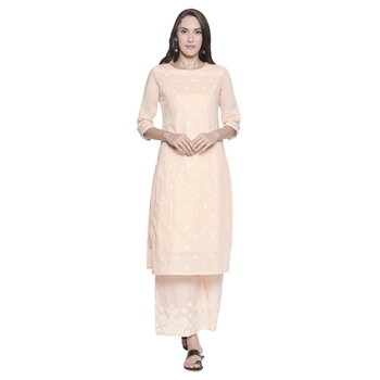 Peach Cotton Embroidered Kurta With Pant for Women