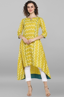 Women's Lemon Yellow Pure Cotton Kurta