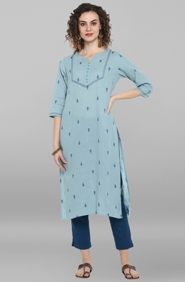 Women's Sky Blue Weaved Cotton Kurta