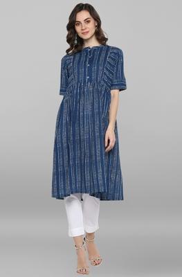 Women's blue Pure Cotton Kurta