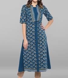 Women's Turquoise Poly Crepe Kurta With Jacket