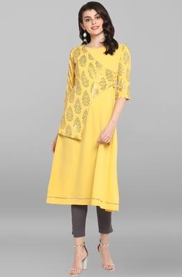 Women's Yellow Poly Crepe Kurta