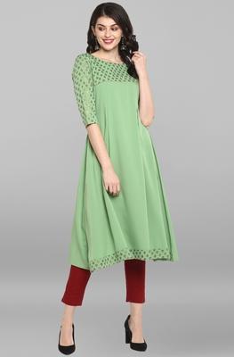 Women's Light Green Poly Crepe Kurta