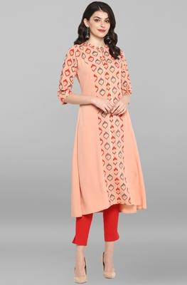 Women's Peach Poly Crepe Kurta