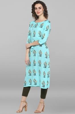 Women's Turquoise Green Pure Cotton Kurta