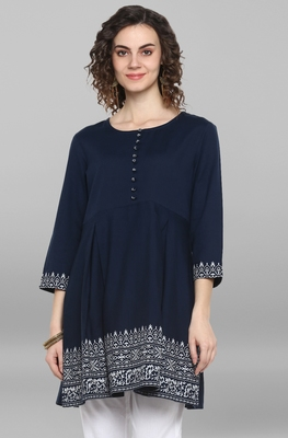 Women's Navy Blue Cotton Flex Kurti