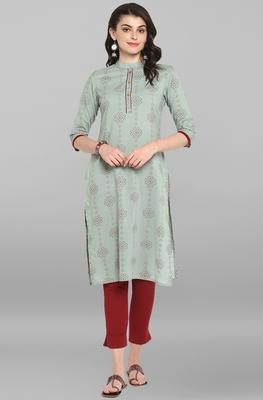 Women's Sea Green Pure Cotton Kurta