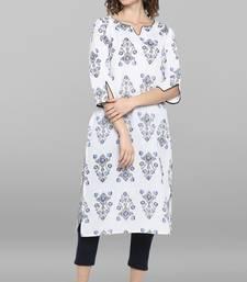 Women's White Pure Cotton Kurta