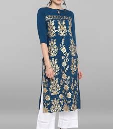 Indian Women's Turquoise Blue Poly Crepe Kurta