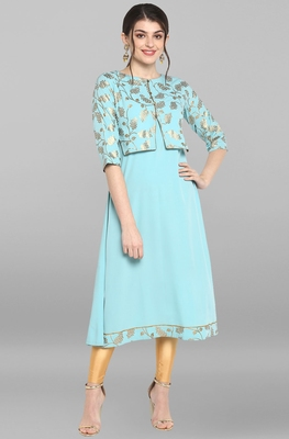 Indian Women's Turquoise Blue Poly Crepe Kurta
