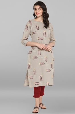Indian Women's Grey Pure Cotton Kurta
