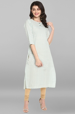 Indian Women's Cream Pure Cotton Kurta