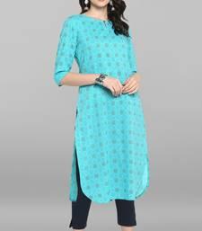 Indian Women's Turquoise Pure Cotton Kurta