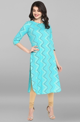 Indian Women's Turquoise Pure Cotton Kurta