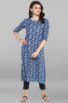 Indian Women's Blue Pure Cotton Kurta