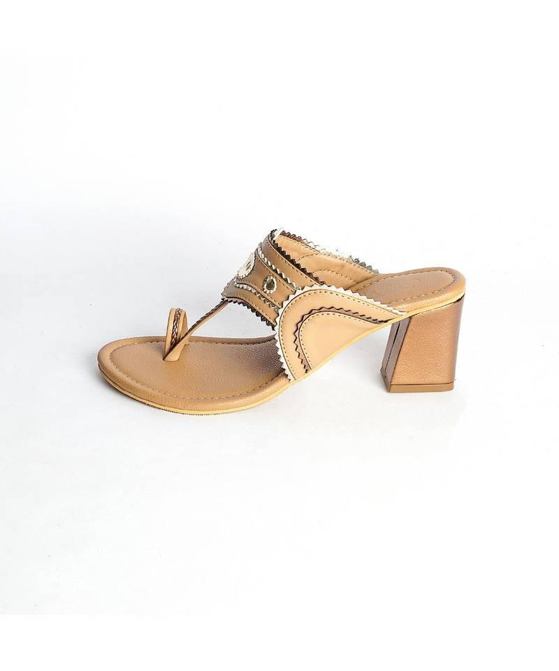Nude Copper Trapeez Heel Kolapuri - SOLE HOUSE - 3286990