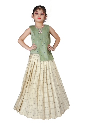 Kids Cotton Silk Pista Top And White Lehenga Choli Set