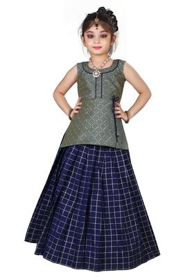 Kids Cotton Silk Grey Top And Blue Lehenga Choli Set For Girls