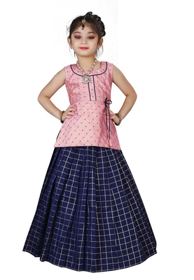 Kids Pink Top And Blue Lehenga Choli Set For Girls