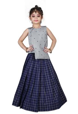 Kids Cotton Silk Silver Top And Blue Lehenga Choli For Girls