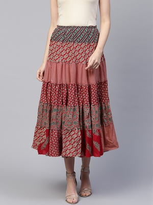 Pinksky Red printed cotton skirts