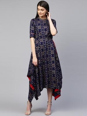 Pinksky Blue printed viscose rayon long-dresses