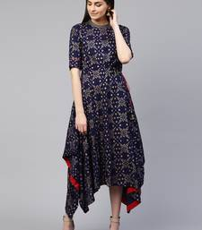Pinksky Blue printed viscose rayon long-dresses