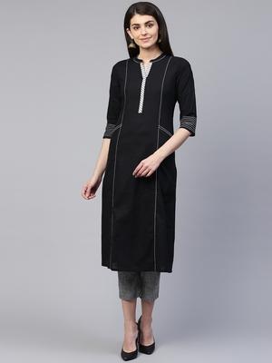 Pinksky Black woven cotton cotton-kurtis