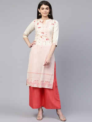 Pinksky White woven cotton cotton-kurtis