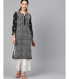 Hand Embroidered Black Faux Georgette Lucknow Chikankari Kurti