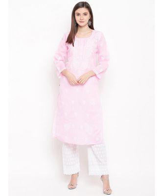 Hand Embroidered Pink Cotton Lucknow Chikankari Kurti
