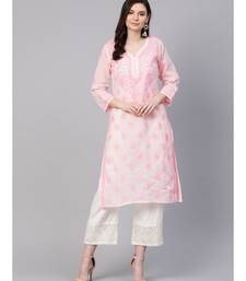 Hand Embroidered Baby Pink Cotton Lucknowi Chikan Kurti