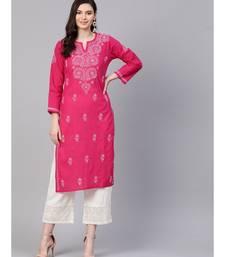 Hand Embroidered Magenta Pure Cambric Cotton Lucknow Chikankari Kurti
