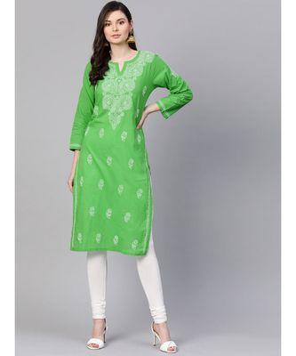 Hand Embroidered Green Pure Cambric Cotton Lucknow Chikankari Kurti